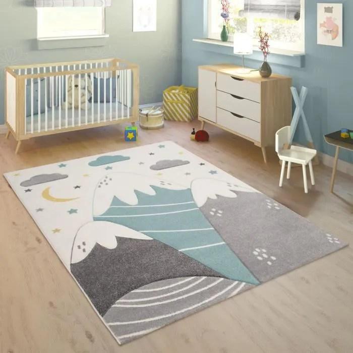 tapis enfant chambre enfant motif montagne lune et