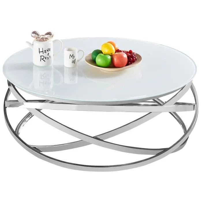 table basse design rond avec pietement