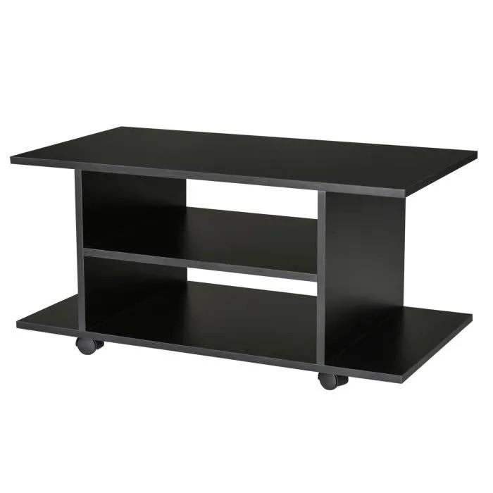 meuble tv bas table basse a roulettes en panneaux de particules noir 10