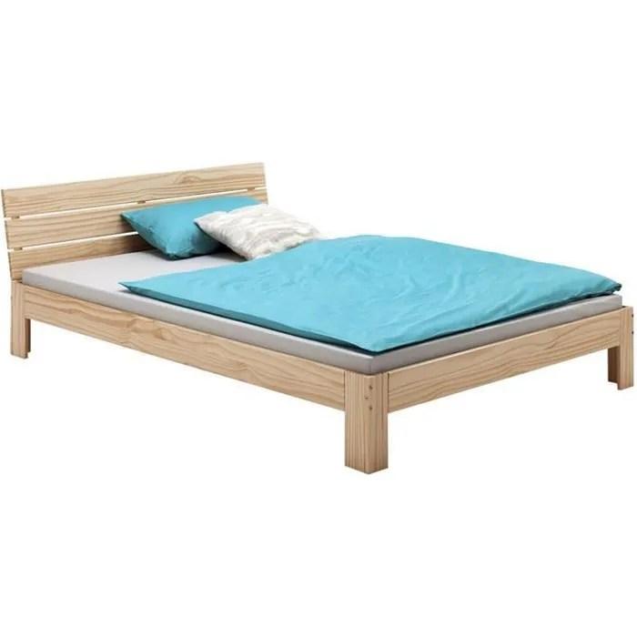 lit double pour adulte thomas avec tete de lit couchage 140 x 200 cm 2 places 2 personnes en pin massif vernis naturel