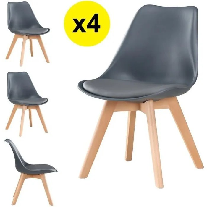 lot de 4 chaises scandinaves coloris gris fonce skagen style scandinave la tendance ultime caracteristiques coque assise et