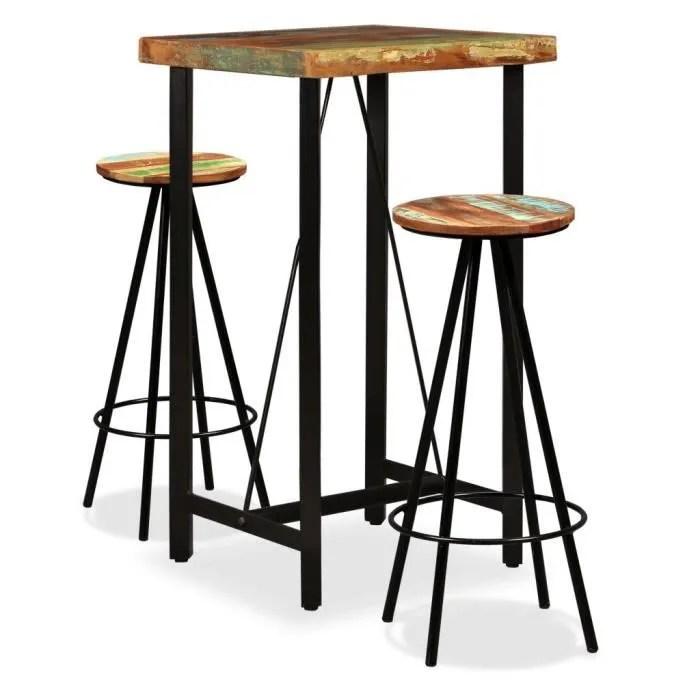 ensemble table bar de 2 a 4 personnes 60 x 60 x 107 cm style contemporain 2 tabourets de bar mange debout bois de recuperation