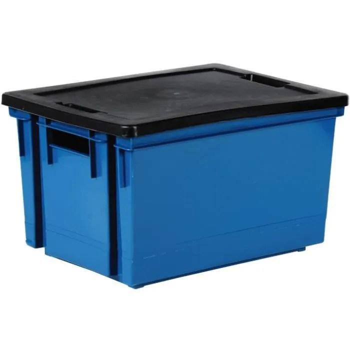Bac De Rangement Avec Couvercle En Plastique 10 L Bleu Mineral Et Noir Cdiscount Bricolage