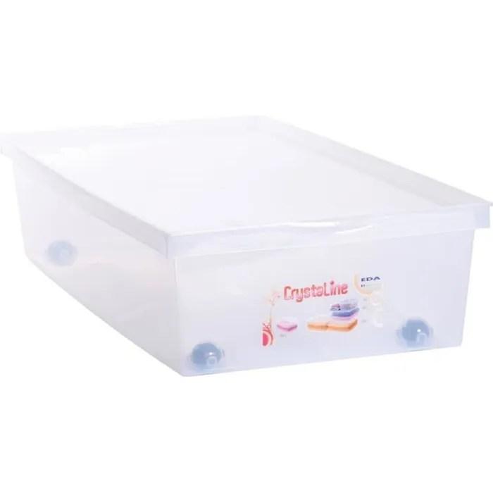eda plastique coffre de rangement dessous de lit 33 l avec roulettes naturel 72 7 x 39 5 x 17 cm