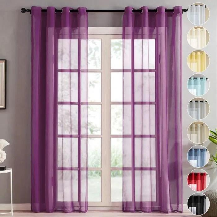 topfinel rideaux voilage violet en effet lin a o