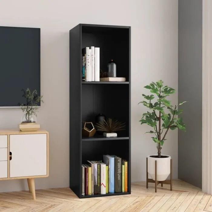 bibliotheque meuble tv noir etagere de rangement m