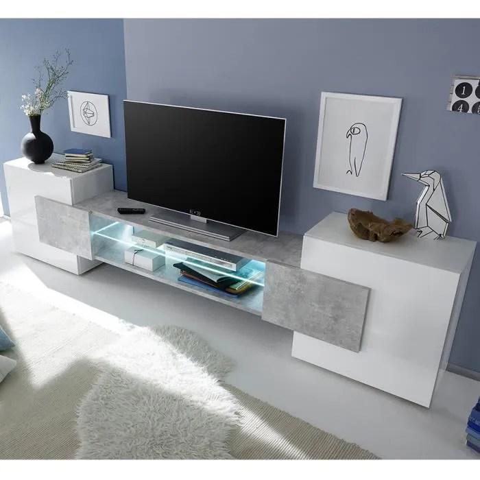meuble tv design blanc laque brillant et effet bet