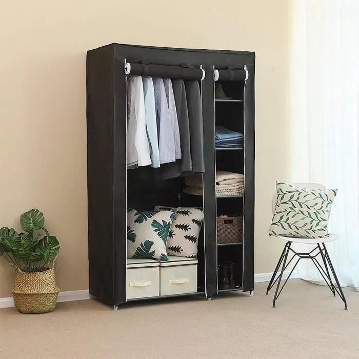 luxs armoire rangement chambre penderie tissu pas cher noir structure stable en metaux 172 105 43cm