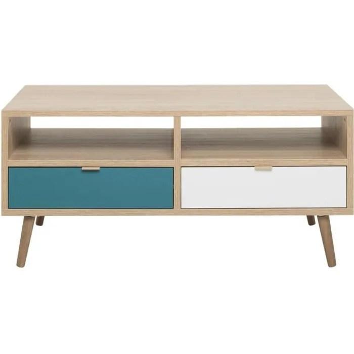 cuba table basse scandinave decor chene blanc gris et bleu petrol l 100 x l 60 cm