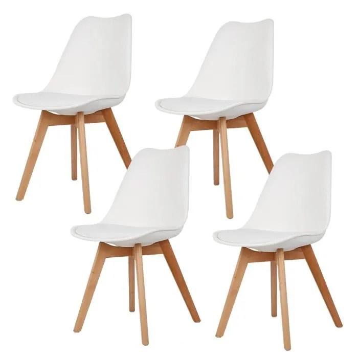 chaises salle a manger lot de 4 chaises de cuisine rembourree chaise de salle de bureau blanc
