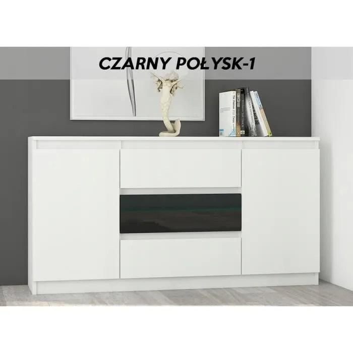 albi w1 commode contemporaine meuble rangement buffet chambre salon bureau 140x40x76 3 tiroirs 2 portes finition tendance