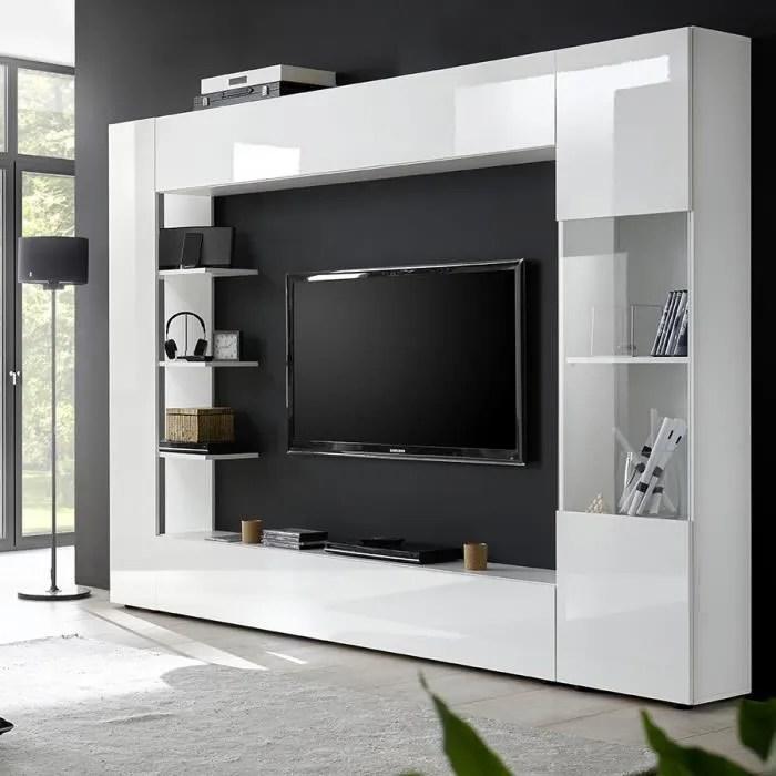 meuble tv mural laque blanc soprano l 257 x p 30 x
