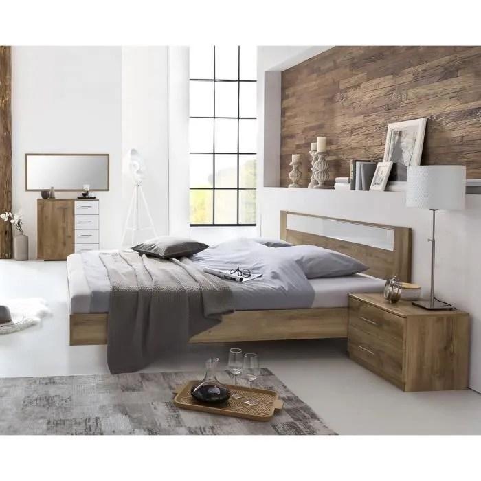 chambre a coucher en panneaux de particules imitation chene poutre blanc chrome dim 140 x 200 cm