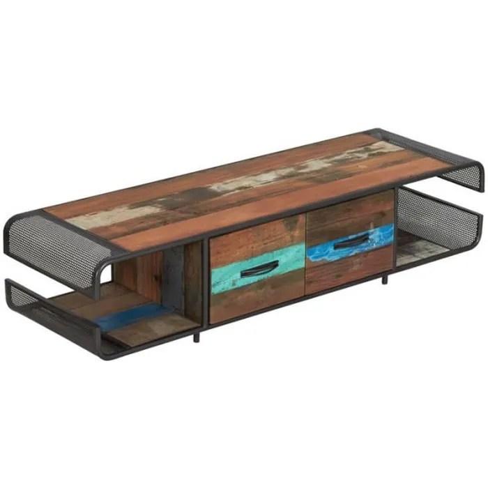 meuble tv en fer bois 2 tiroirs seattle n 2 l