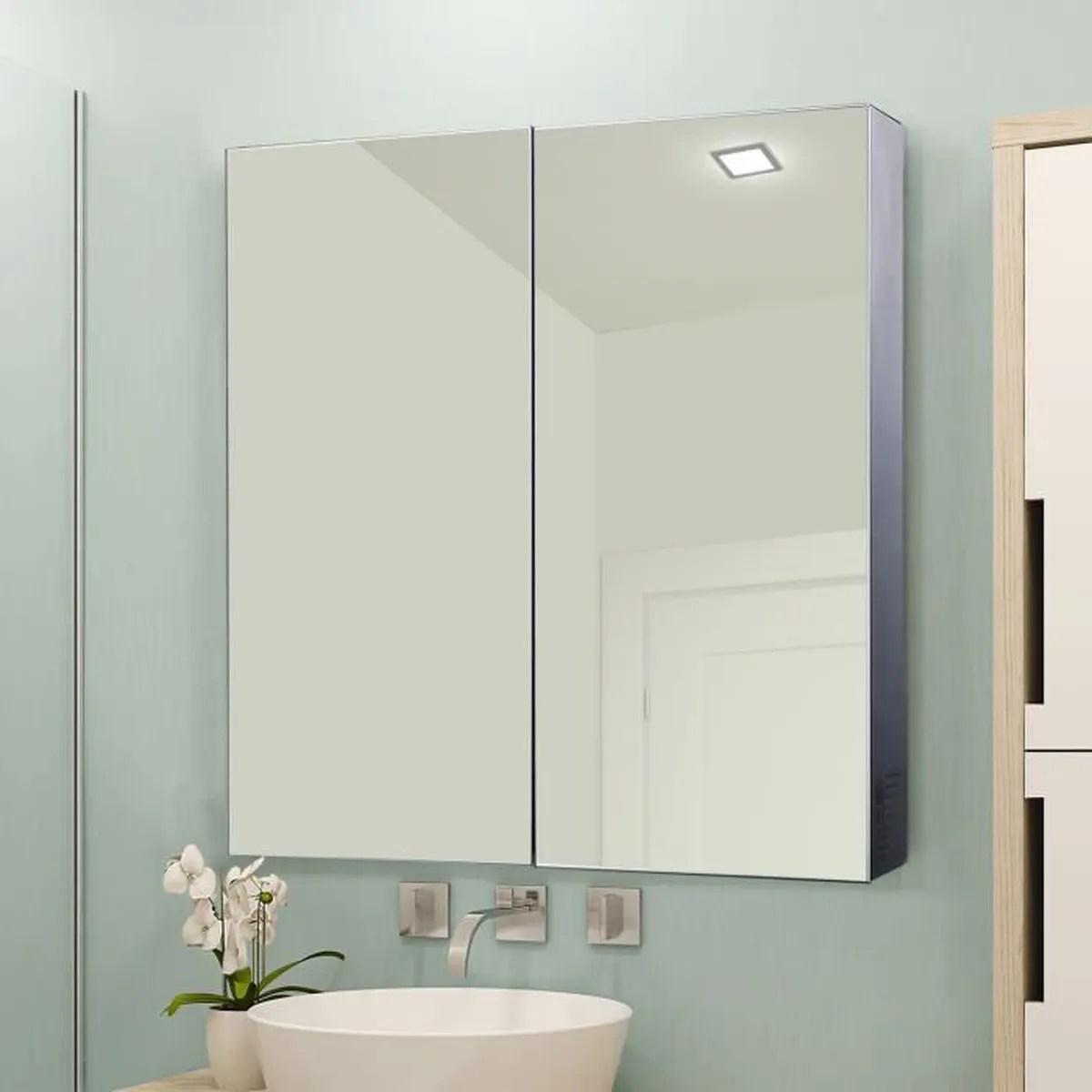 armoire a glace armoire a pharmacie miroir double porte 3 niveaux eclairage led interieur 60l x 11l x 60h cm acier inoxydable 25