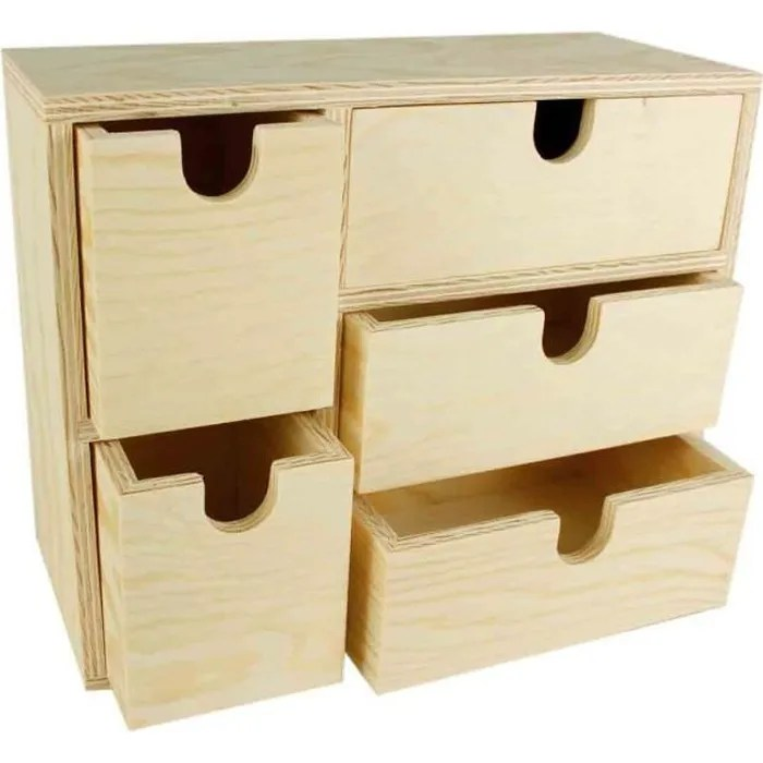 meuble rangement bois 5 tiroirs 22 x 9 x 18 cm m