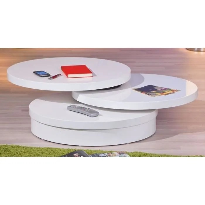 table basse ronde plateau pivotant lana