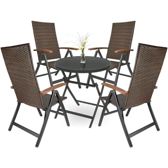 salon de jardin avec table pliante