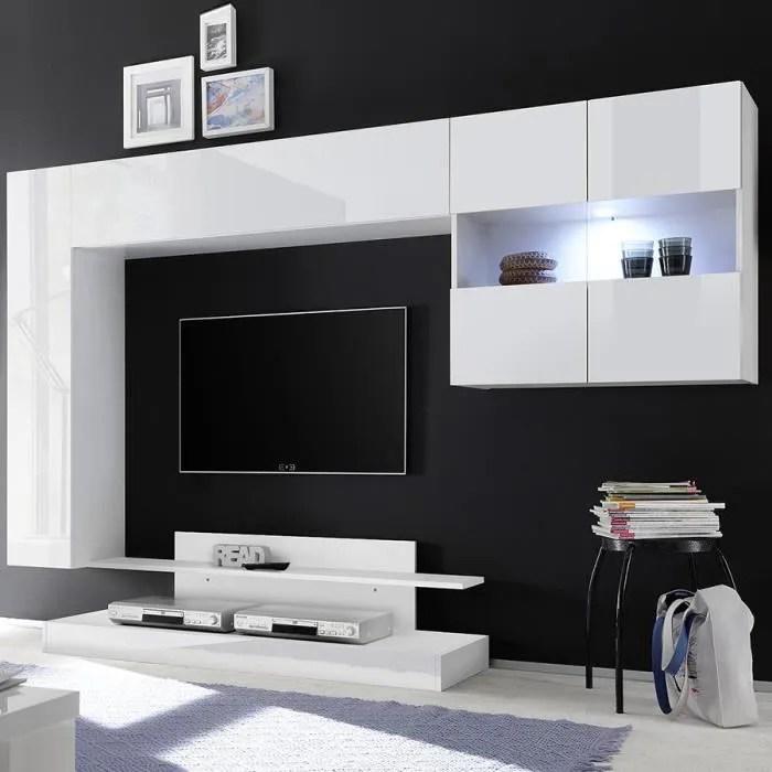 meuble tv mural design blanc laque picerno blanc l
