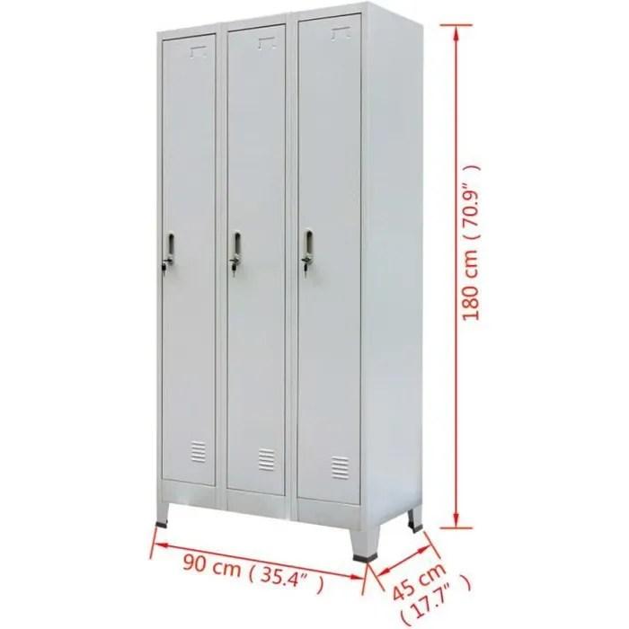 vestiaire casier metallique avec 3 compartiments s