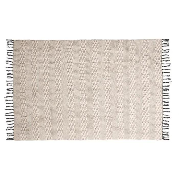 tapis a frange en coton 120 x 180 cm