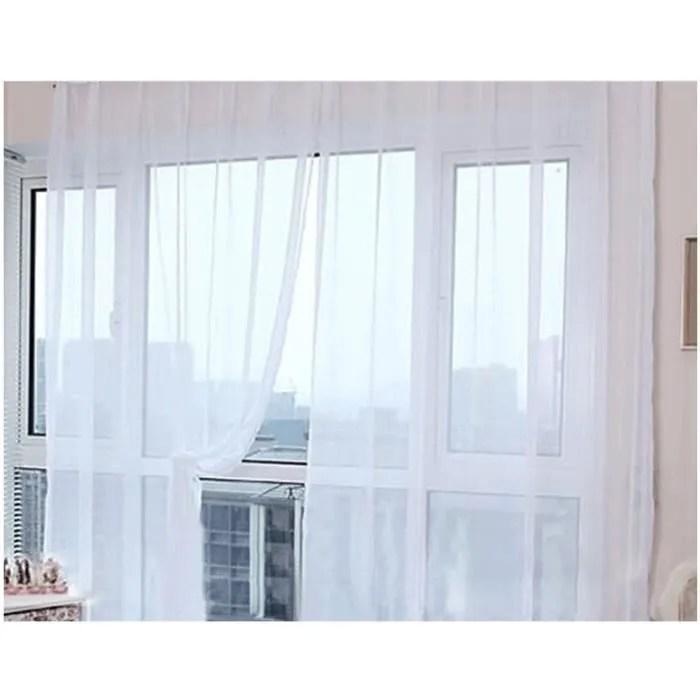 paire de rideaux en voile uni pas cher voilage de salon transparent tour de decoration de chambre rideau voilage occultant ete blanc