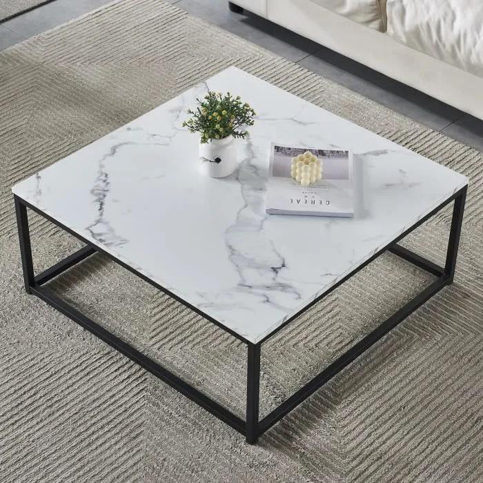 furnish1 moderne table basse bout canape 80x80cm plateau panneau bois marbre metal peint noir pour la maison le travail