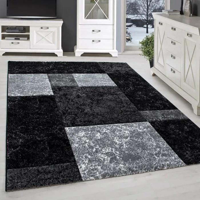 tapis moderne design salon contour taille diamant noir gris blanc 120x170 cm