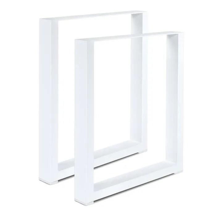 set de 2 pieds de table pied de meuble metal pied de table a manger 80 x 72 cm blanc