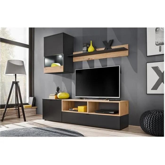 ensemble meuble tv nano noir mat et
