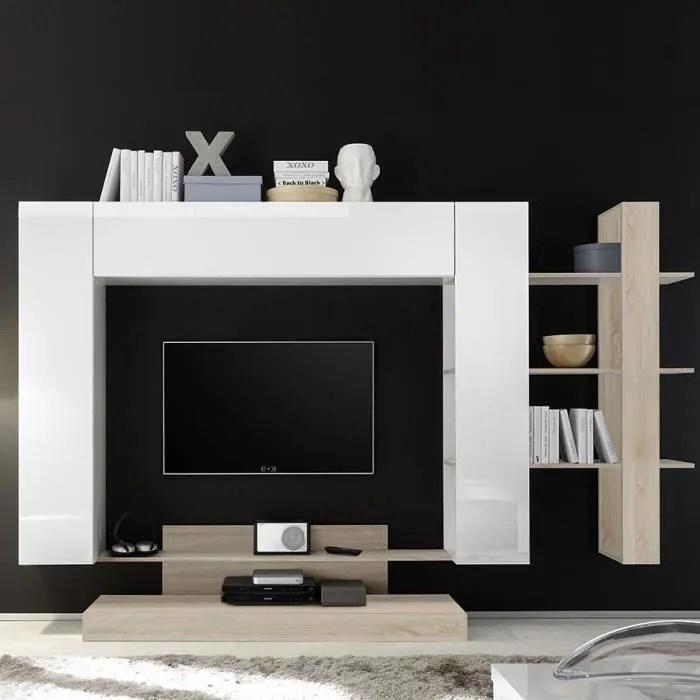 grand meuble tv blanc laque et couleur chene clair