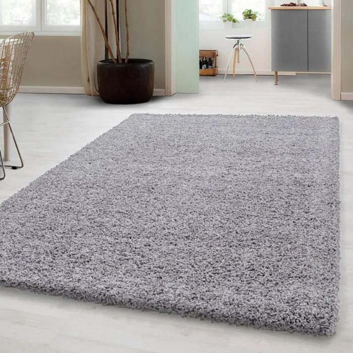 tapis shaggy longue pile facile d entretien tapis de couleur unie gris clair 60x110 cm