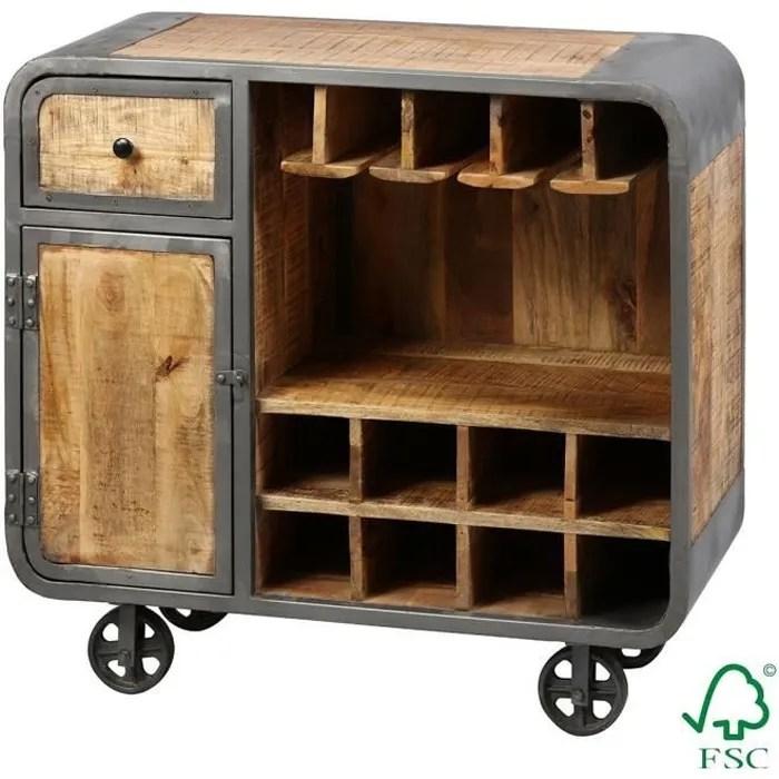 edwin meuble bar multi rangements acier et bois