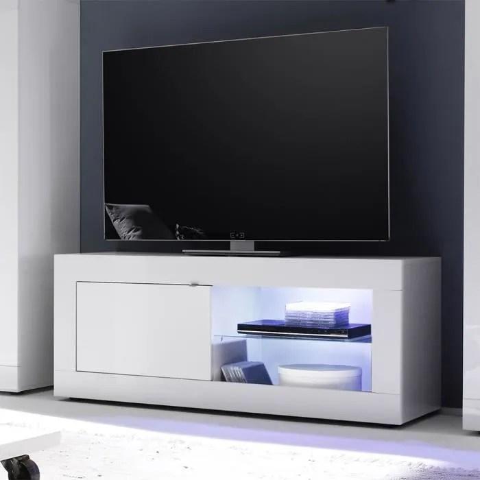 meuble tv lumineux blanc laque design felino l 140