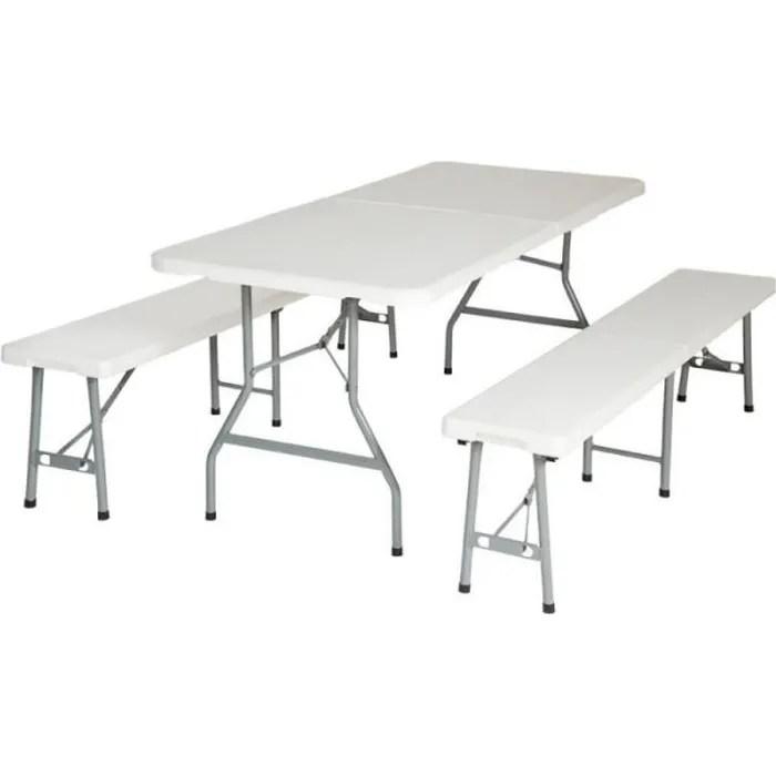 ensemble table pliante et 2 bancs jardin pliables