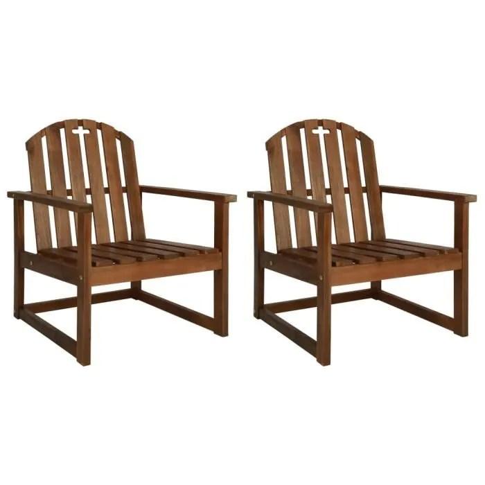 chaises de jardin 2 pcs bois d acacia solide
