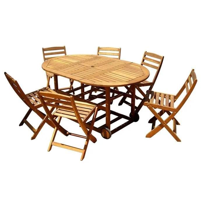 interbuild new york fly set 1 table avec 6 chaises ensemble de table pliante en acacia