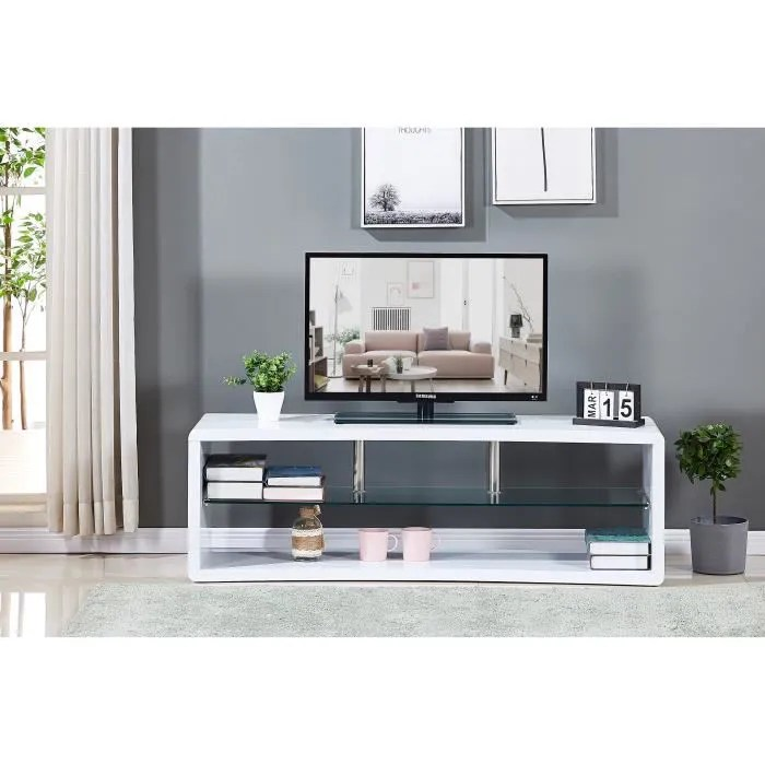 meuble tv incurve en bois laque blanc