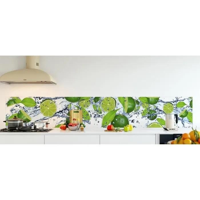 credence de cuisine adhesive en verre de synthese citron vert dans l eau l 300 x h 50 cm