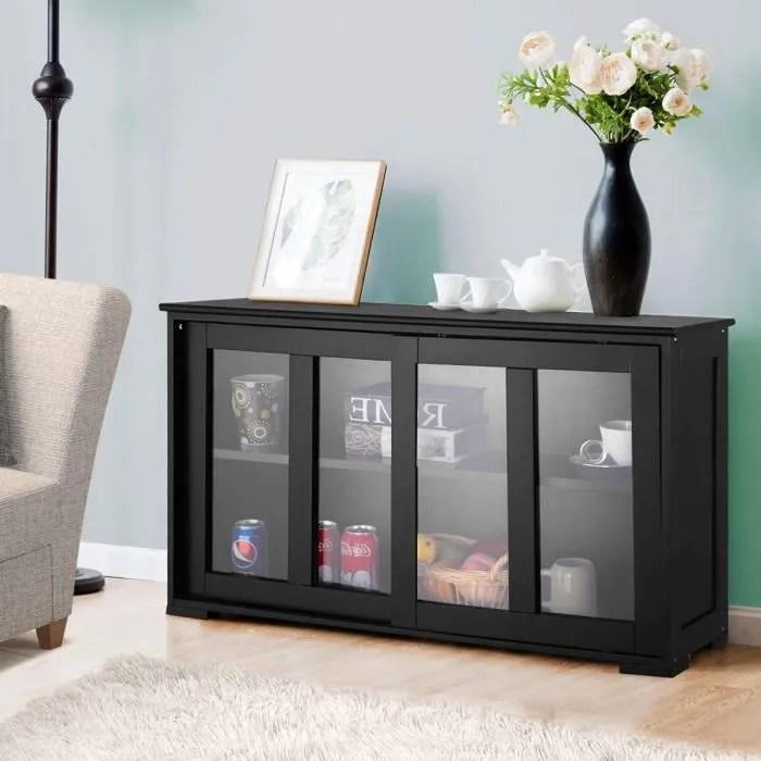 buffet de cuisine pratique meuble de rangement bas avec porte coulissante en verre trempe et 2 etageres 106 7 x 33 x 62 5 cm noir