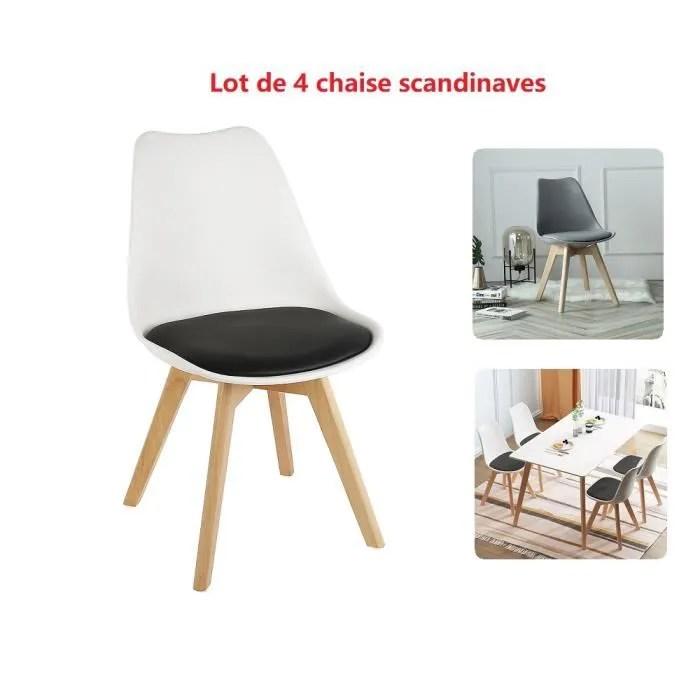 lot de 4 chaises blanc noir style decontracte pour salon salle balcon yageway