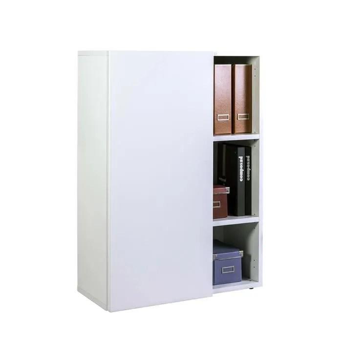 bibliotheque basse verticale en bois laque blanc 3