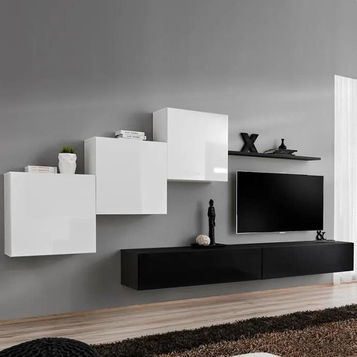 meuble tv suspendu blanc et noir duccio l 330 x p