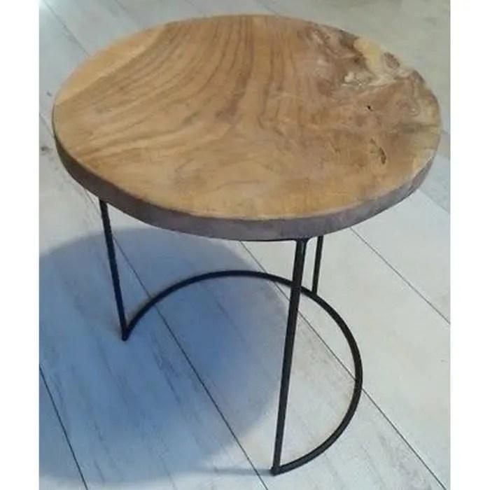 table basse appoint teck bois et fer forge design geridon chevet campagne