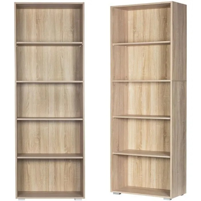 etagere bibliotheque chene 190 cm meuble de rangement vela 5 compartiments