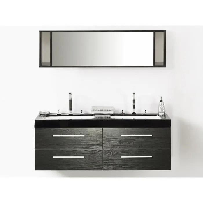 Meuble Double Vasque A Tiroirs Miroir Inclus Noir Malaga Achat Vente Lavabo Vasque Meuble Double Vasque A Tiro Cdiscount