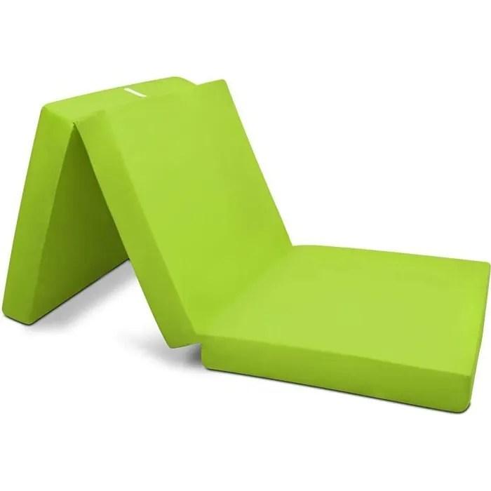 beautissu matelas d appoint pliable adulte campix 80x195cm vert chauffeuse convertible lit futon pliant d invite
