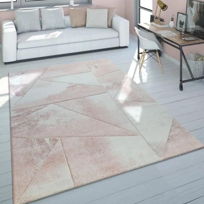tapis de salon poils ras vert gris couleurs pastel design retro motif triangles 60x110 cm