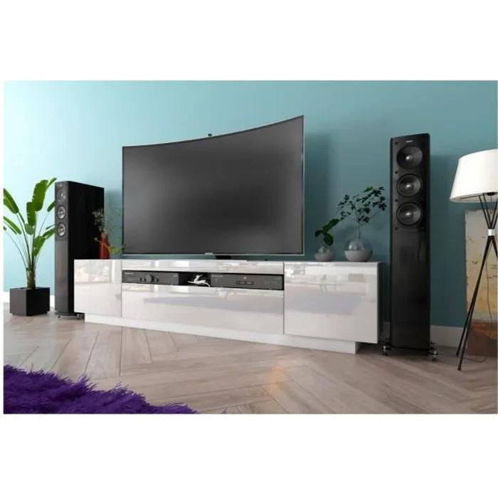 meuble tv kush blanc mat 200 cm avec