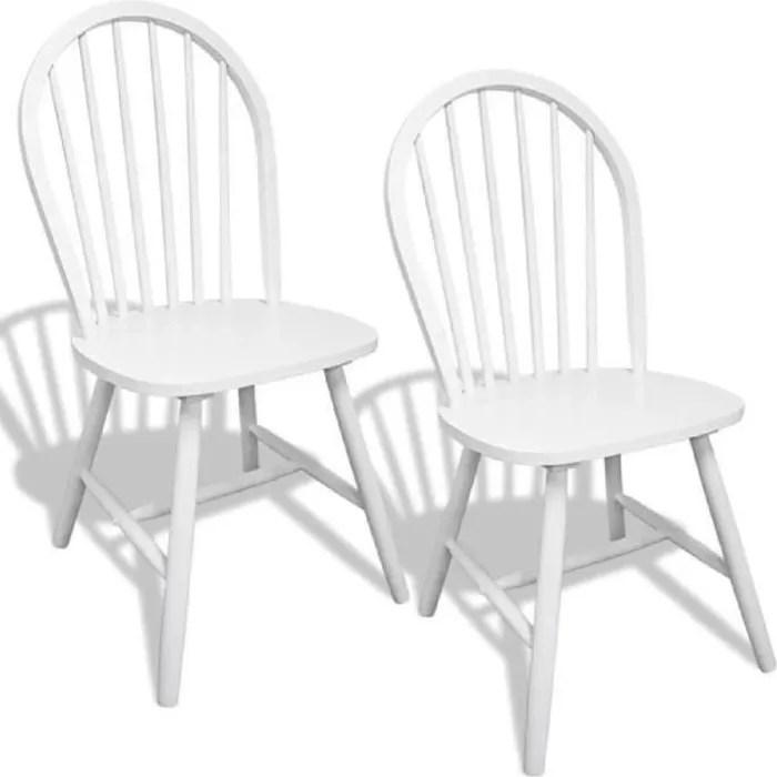 2pcs chaises blanches en bois avec
